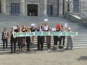Coal in the Hole on the steps of Parliament