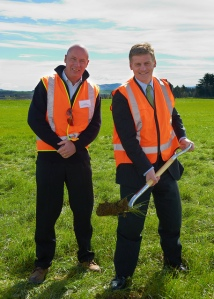 Former Solid Energy CEO Don Elder and Finance Minister Bill English turn the sod for Solid's failed lignite briquetting plant in Southland.