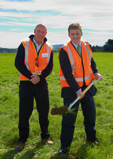 Don Elder and Bill English - when they used to smile at each other - turning the sod for Solid's failed lignite briquetting plant