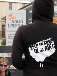 Coal Action Network activist at the now mothballed Mataura briquetting plant - supposed to provide local jobs, but didn't.