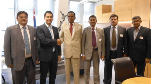 Energy and Resources Simon Bridges with the Indian steel delegation in his office in January