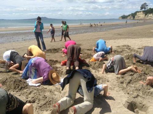 The sun shines on #HeadsInSandNZ at Browns Bay. Photo: Jean McElhaney