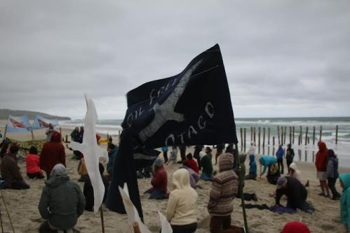The Oil Free Otago flag flew proudly at the Dunedin #HeadsInSandNZ event. Photo: Ruby Harris