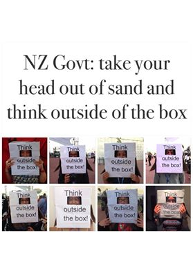Doing the best we can to support the Heads in the Sand campaign over here at the conference in Lima! Unfortunately there's no sand onsite. From the New Zealand Youth Delegation and other NZers. Photo: Maddie Little