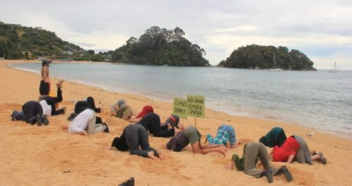 A beautiful scene at Motueka's Kaiteriteri Beach for #HeadsInSandNZ. Photo: Babs McGee