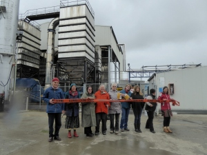 Waimate locals and Coal Action Network activists make their statement in front of Fonterra's Studholme plant